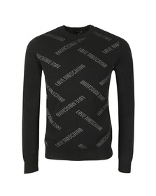Love Moschino Mens Black All Over Logo Knitted Jumper