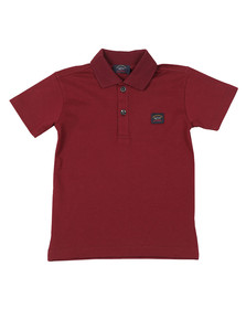 Paul & Shark Cadets Boys Red Plain Pique Polo Shirt