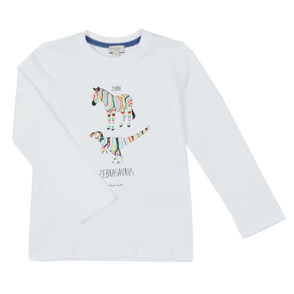 Paul Smith Junior Boys White Zebrasaurus T  Shirt main image