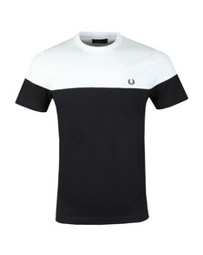 Fred Perry Mens Blue S/S Panelled Tee
