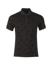 Emporio Armani Mens Black Allover Velour Eagle Polo Shirt