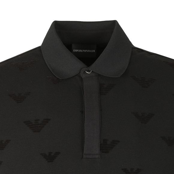 Emporio Armani Mens Black Allover Velour Eagle Polo Shirt main image