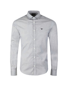 Emporio Armani Mens Blue Long Sleeve Stripe Shirt