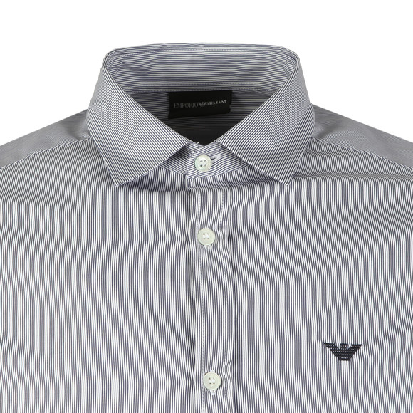 Emporio Armani Mens Blue Long Sleeve Stripe Shirt main image