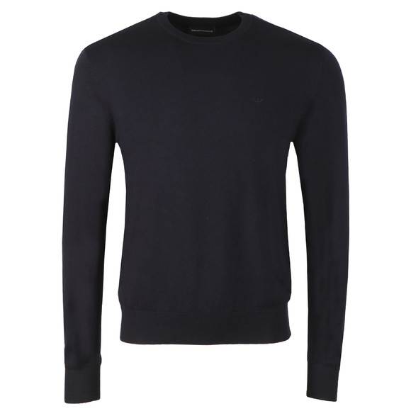 Emporio Armani Mens Blue Small Logo Jumper main image