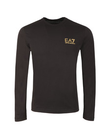 EA7 Emporio Armani Mens Black Small Logo Long Sleeve T Shirt