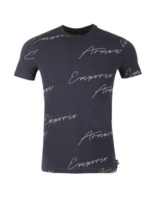 Emporio Armani Mens Blue Allover Signature T Shirt