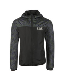 EA7 Emporio Armani Mens Black Camo Panel Hooded Bomber Jacket