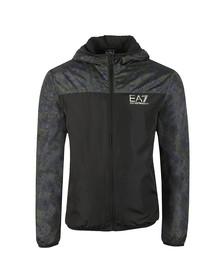 EA7 Emporio Armani Mens Black Camo Panel Hooded Bomber Jacket