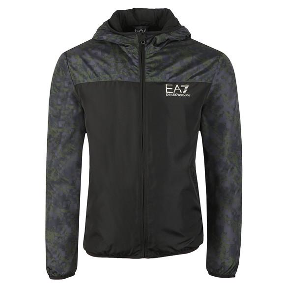EA7 Emporio Armani Mens Black Camo Panel Hooded Bomber Jacket main image
