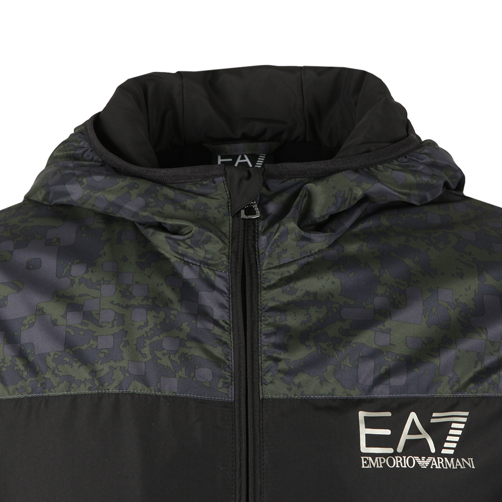 Camo Panel Hooded Bomber Jacket main image
