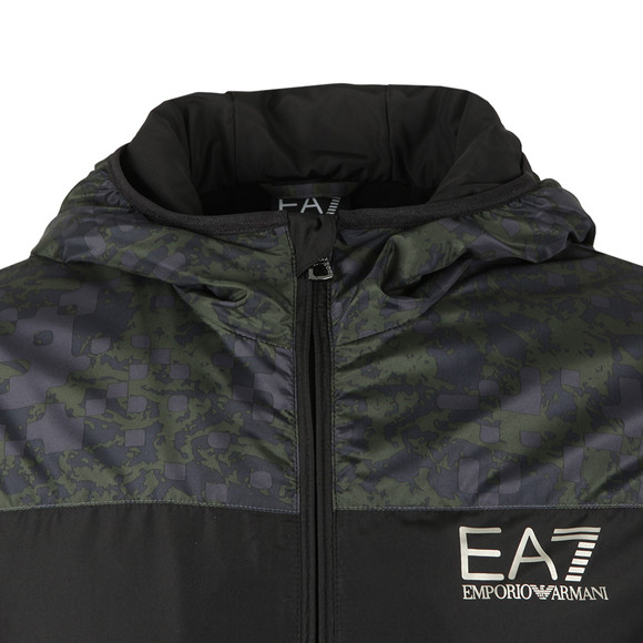 EA7 Emporio Armani Mens Black Camo Panel Hooded Bomber Jacket main image