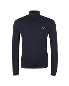 Fred Perry Mens Blue Merino Roll Neck Sweater