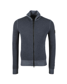 BOSS Mens Blue Casual Afurly Full Zip Knitted Jumper