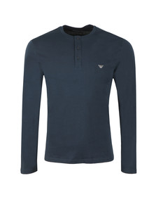 Emporio Armani Mens Blue Long Sleeve Henley T Shirt