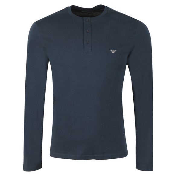Emporio Armani Mens Blue Long Sleeve Henley T Shirt main image