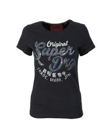 Superdry Womens Blue New Original Sequin Entry Tee