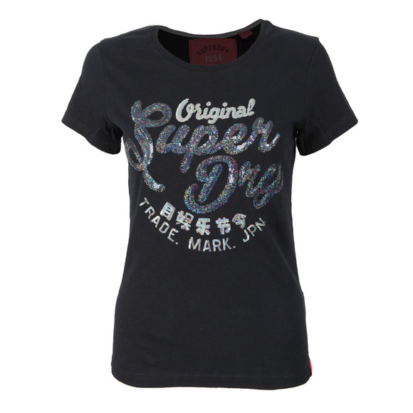 Superdry Womens Blue New Original Sequin Entry Tee main image