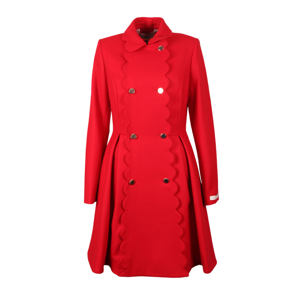 new product brand quality terrific value Womens Red Blarnch Scallop Trim Wool Coat