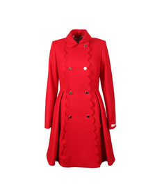 Ted Baker Womens Red Blarnch Scallop Trim Wool Coat