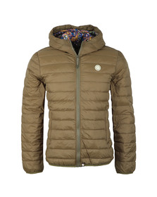 Pretty Green Mens Green Lightweight Quilted Hooded Jacket