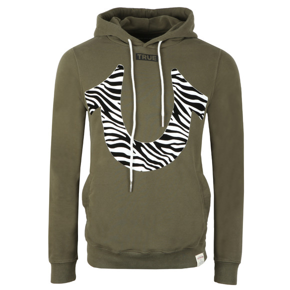 True Religion Mens Green Zebra Print Horseshoe Hoody main image