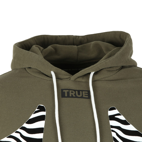 True Religion Mens Green Zebra Print Horseshoe Hoody