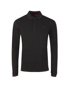 HUGO Mens Black Donol LS Tipped Polo Shirt