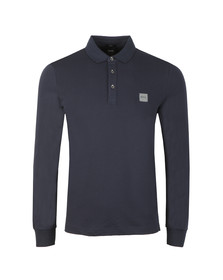 BOSS Orange Mens Blue Passerby Long Sleeve Polo Shirt