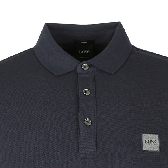 BOSS Mens Blue Casual Passerby Long Sleeve Polo Shirt