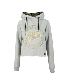 Superdry Womens Grey Ace Metallic Crop Hoody