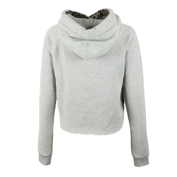 Superdry Womens Grey Ace Metallic Crop Hoody main image