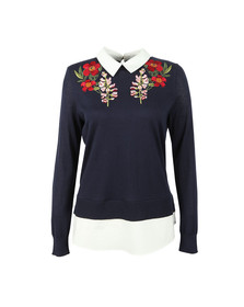 Ted Baker Womens Blue Toriey Embroidered Mockable Knit
