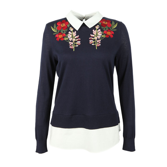 Ted Baker Womens Blue Toriey Embroidered Mockable Knit main image