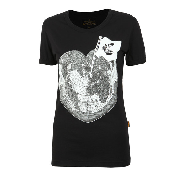 Vivienne Westwood Anglomania Womens Black Classic Heart World Print T Shirt main image