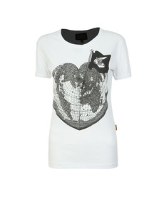 Vivienne Westwood Anglomania Womens White Classic Heart World Print T Shirt
