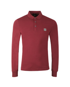 BOSS Orange Mens Red Passerby Long Sleeve Polo Shirt