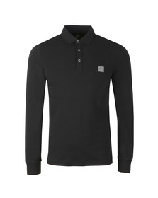BOSS Orange Mens Black Passerby Long Sleeve Polo Shirt