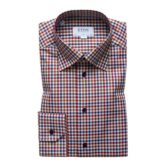 Eton Mens Red Multi Check Shirt