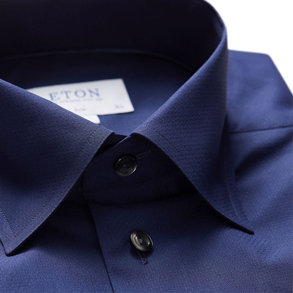 Eton Mens Blue Button Under Poplin Shirt main image
