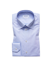 Eton Mens Blue Button Under Poplin Shirt
