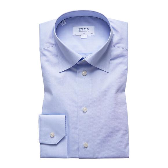 Eton Mens Blue Button Under Poplin Shirt