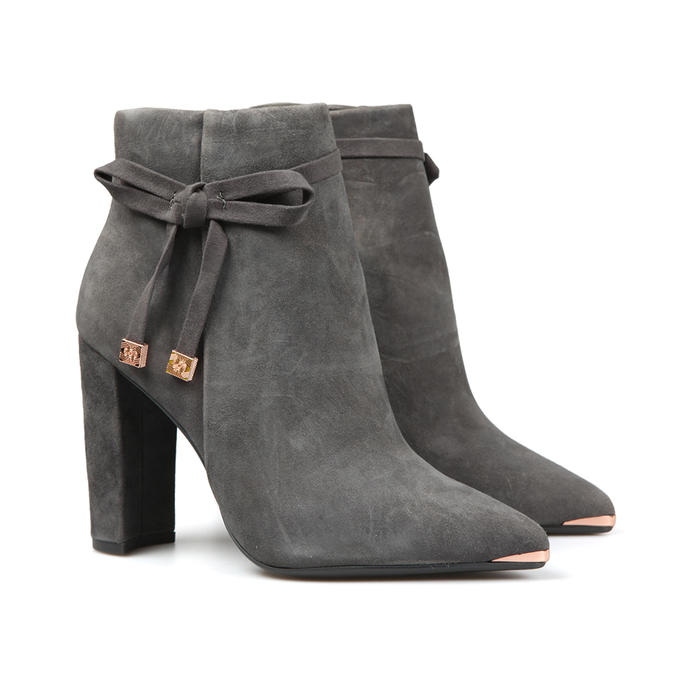 utterly stylish release date usa cheap sale Womens Grey Qatena Suede Bow Detail Ankle Boots