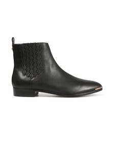 Ted Baker Womens Black Liveca Elastic Detail Leather Ankle Boot