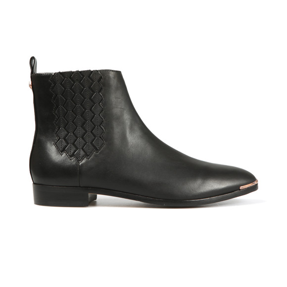 Ted Baker Womens Black Liveca Elastic Detail Leather Ankle Boot main image