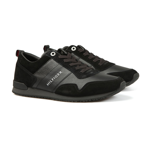 Tommy Hilfiger Mens Black Iconic Leather Trainer main image