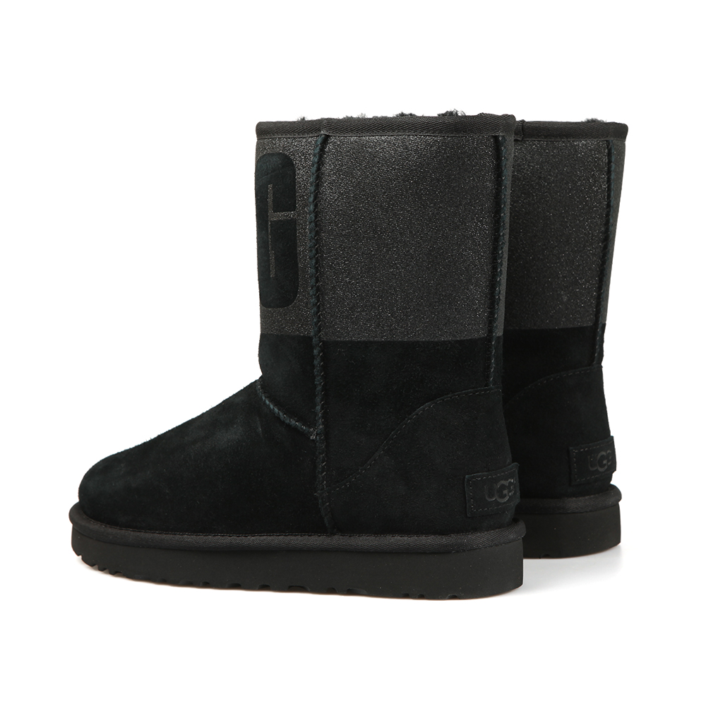 55f19bfb776 Womens Black Classic Short Logo Sparkle Boot