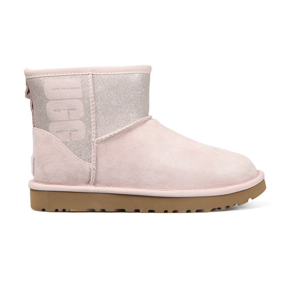 Ugg Womens Pink Classic Mini Logo Sparkle Boot