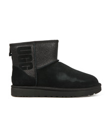 Ugg Womens Black Classic Mini Logo Sparkle Boot