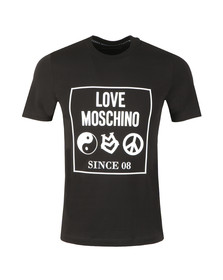 Love Moschino Mens Black Box Logo Crew T-Shirt
